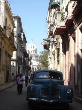 Vintage cars and narrow streets of Havana, Cuba