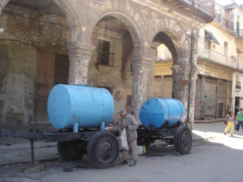 Two tankards making up a petrol station in Havana, Cuba