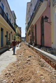 Roadworks on candy-coloured street
