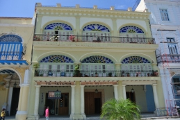 Yellow building in Plaza Vieja, Havana