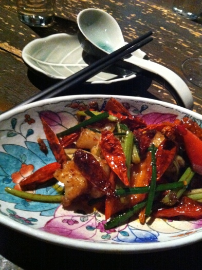 chilli prawns at Hutong
