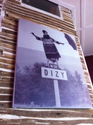 Photograph of a women on top of the Dizy sign