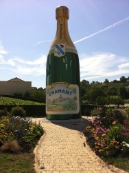 Giant champagne bottle in Cremant, France