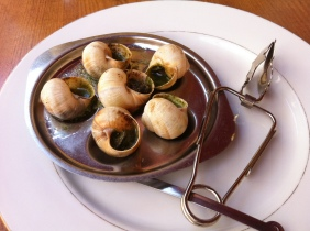A dish of garlic escargot in Troyes