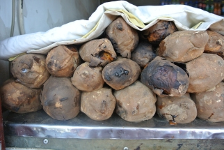 Freshly baked sweet potato street stall, Beijing