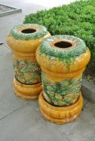 Fancy ceramic bins outside the Yonghe Temple, Beijing