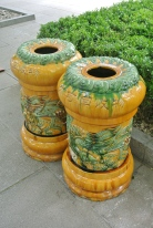 Fancy ceramic bins outside the Yonghe Temple, Beijing