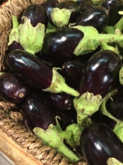 Baby aubergines at Les Halles market