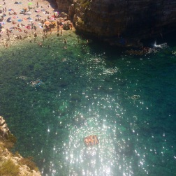 Polignano a Mare beach bathers, Italy