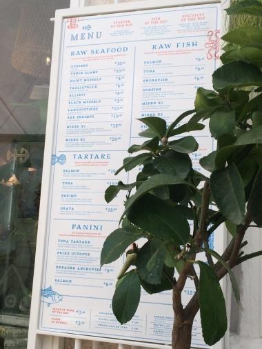 menu at Pescaria, Polignano a Mare