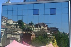 Villabuena de Alava reflected in Hotel Viura